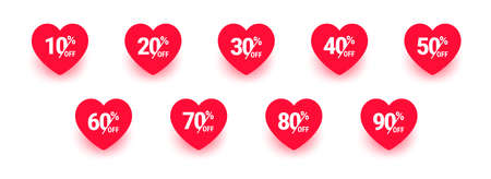 Sale label, Heart icon set. Love sticker collection. From 10, 20, 30, 40, 50, 60, 70, 80 to 90 percents off. Valentines day sign. Happy Women`s Day 8 march. Vector illustration isolated on white Stock Photo