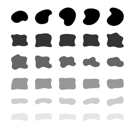 Blob shapes vector set. Organic abstract splodge elemets collection. Inkblot simple silhouette. Black and white form