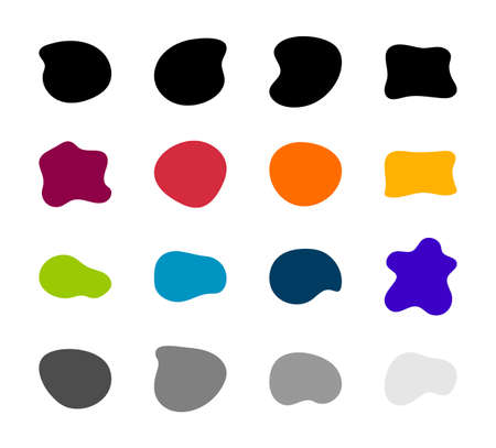 Blob shapes vector set. Organic abstract splodge elemets collection Inkblot simple silhouette. Minimalist isolated forms Illustration