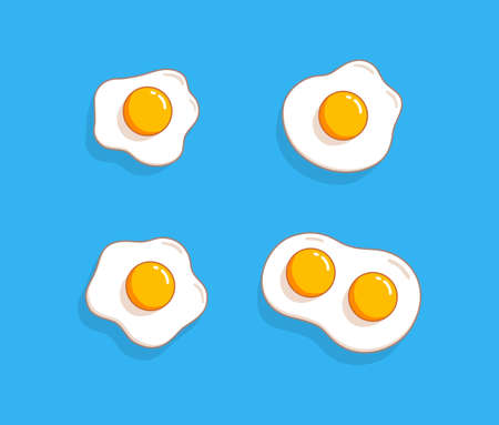 Fried eggs set. Helthy breakfast. Cartoon egg flat trendy design collection. Vector illustration isolated on blue background.