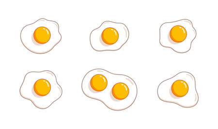Fried eggs. Helthy breakfast. Cartoon egg flat trendy design. Vector illustration isolated on white background Ilustração