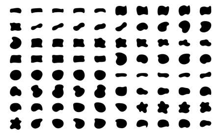 Blob shapes vector set. Organic abstract splodge elemets monochrome collection. Inkblot simple silhouette Illustration