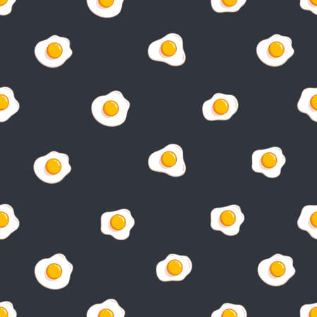 Fried eggs seamless pattern. Simple design for textile wrapping paper Vector illustration isolated onblack background Ilustração