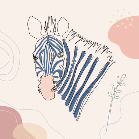 Zebra head vector one line art illustration. Hand drawn modern trendy fashion design background.