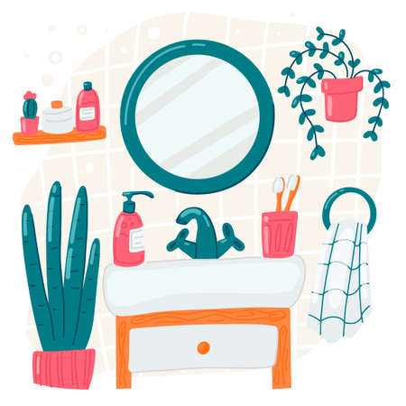 Bathroom vector cartoon illustration. Mirror shelf plant bathtub towel. Personal hygiene, home interior concept Illustration