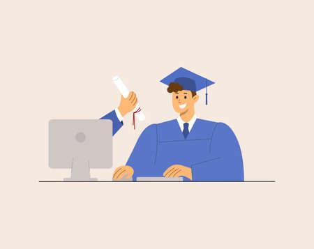 Online Virtual Graduation, e-learning education happy smiling graduate student Corona virus pandemic. Illustration