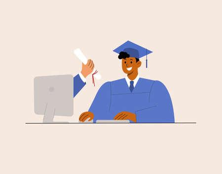 Online Virtual Graduation, e-learning education happy Latin African graduate student at home. Corona virus pandemic