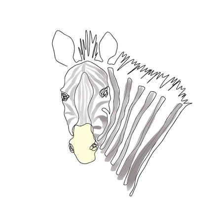 Zebra head vector one line art illustration isolated on white background. Hand drawn modern trendy fashion design