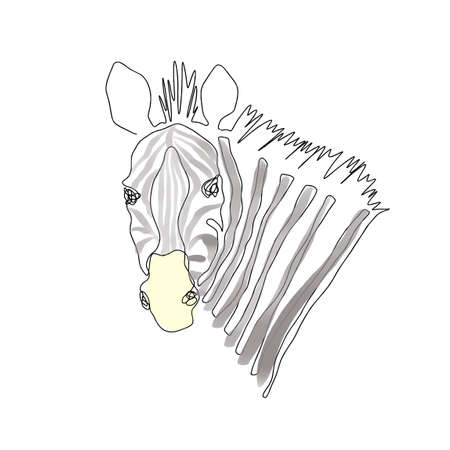 Zebra head vector one line art illustration isolated on white background. Hand drawn modern trendy fashion design