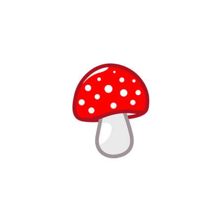 Mushroom icon. Amanita Muscaria fly agaric sign Magic mushroom symbol Vector illustration isolated on white background
