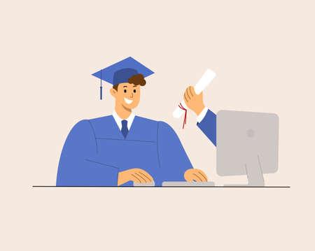 Online Virtual Graduation, e-learning education happy graduate student. hand holding diploma.  virus pandemic