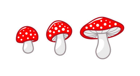 Mushroom icon set. Amanita Muscaria fly agaric sign collection. Magic mushroom symbol. Isolated Vector illustration Ilustração