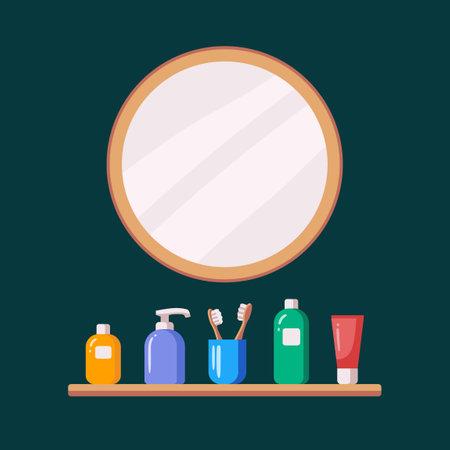 Bathroom mirror shelf accessories. Personal hygiene concept. Dispenser, toothbrush, tooth paste shampoo shower gel Illustration