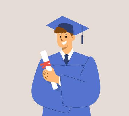 Graduate student with protective mask. Male portrait, Graduation dress diploma. Quarantine, coronavirus, pandemic 2021