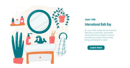Bathroom vector cartoon illustration. International Bath Day Template banner Mirror shelf plant towel Dispenser shampoo Illustration