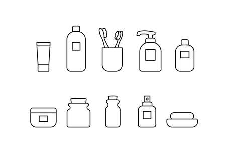 Bathroom vector icon set. Simple bathroom accessories thin line outline signs collection. Personal hygiene concept