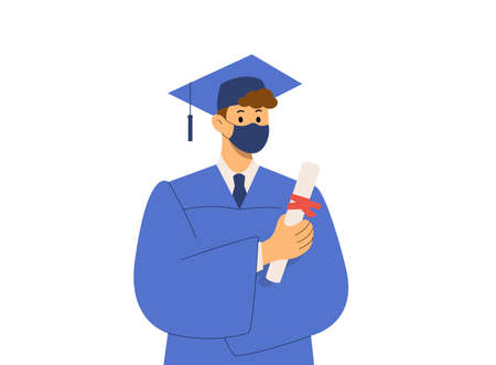 Graduate student wears protective mask with diploma. Concept graduation ceremony, quarantine coronavirus pandemic 2021