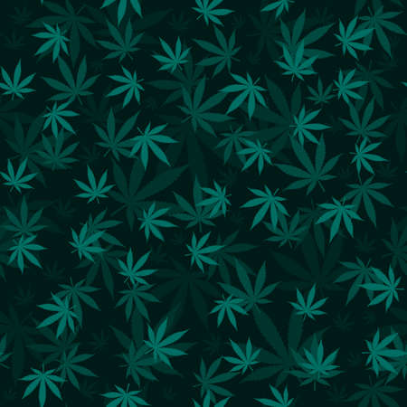 Cannabis leaf Seamless pattern Medical Marijuana texture 3d effect dark vector background fabric textile wrapping paper Ilustração