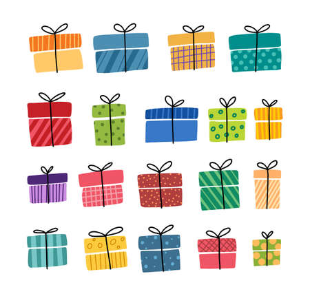 Gift boxes, presents vector icon set. Hand drawn doodle collection isolated on white. For Sale Birthday Christmas