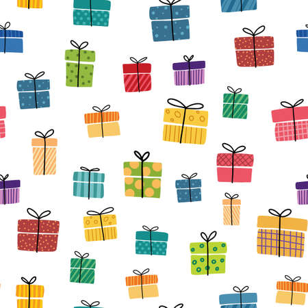 Gift boxes presents seamless pattern Hand drawn doodle collection Wrapped paper textile Sale shopping Birthday Christmas