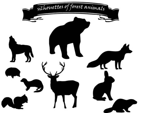 set of black silhouettes of forest animals on a white background with an inscription on a black ribbon Ilustração