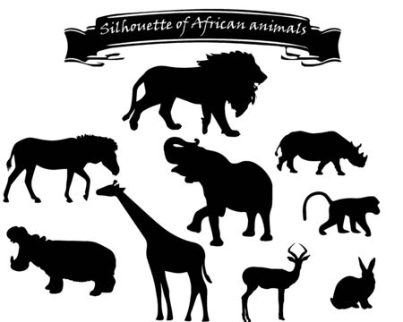 black silhouettes of African animals on a white background with an inscription on a black ribbon