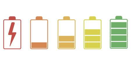 Icons of chargers as they are charged in various colors on a white background in a flat style