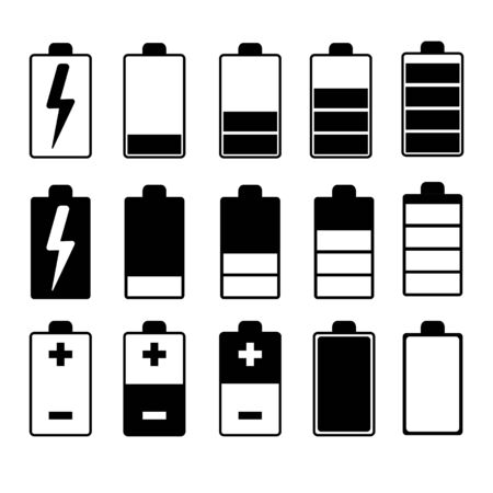 Set of black and white charger icons in different variations in a flat style on a white background. Ilustração