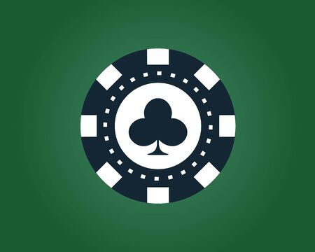 poker chip on the gratis green on a white background with a card suit of the cross in dark blue and white Ilustração