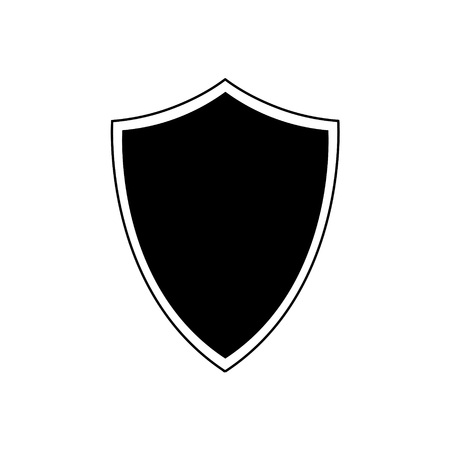 Black and white shield icon on a white background in a flat style.