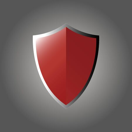 Red shield in flat style with shadows on a gradient gray white background.