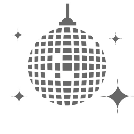Abtract disco ball in gray with glitter on white background. Ilustração