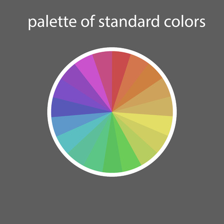 Main palette of standard colors on a gray background with text