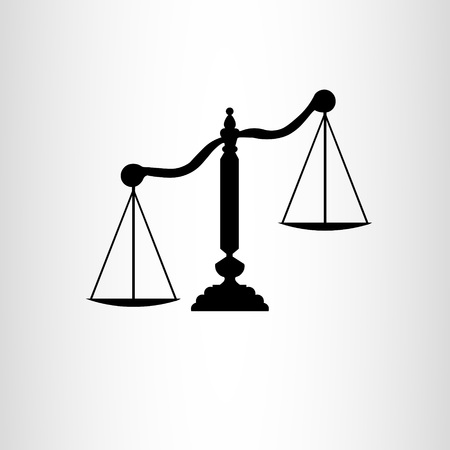 Black icon of scales of justice on a gradient background