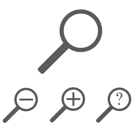 Set of gray magnifying glasses with approaching distance and question mark on white background