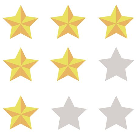 3 orange-yellow stars with a gray silhouette