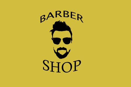 Barber shop icon on a yellow background with a man wearing glasses