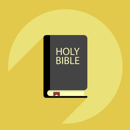Holy bible with various shadows on a yellow background Ilustração