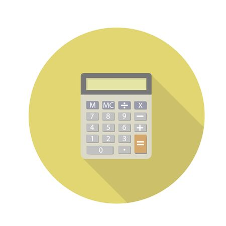 Calculator with shadow on a yellow background Ilustração