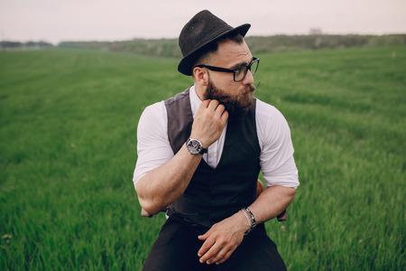 lonley: beard man in field lonley