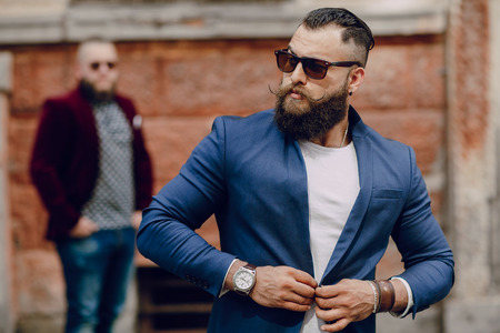 Two bearded men fashion outdoors summer weather