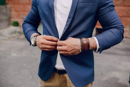 fashion brard man  outdors on summer day Standard-Bild