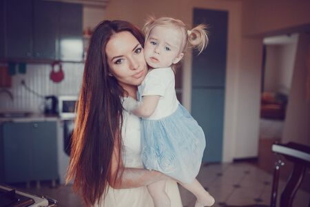 beautiful mother: family happy young beautiful mother and little daughter