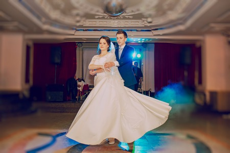 wedding night: romantic couple dancing on their wedding HD Stock Photo