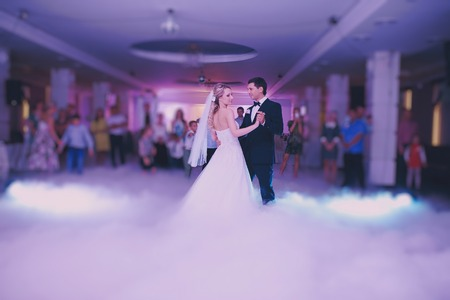 dance music: brides wedding party in the elegant restaurant with a wonderful light and atmosphere