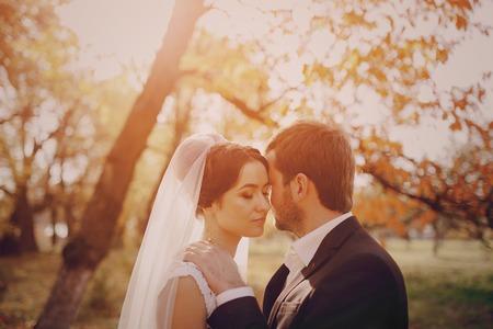 幸せなカップルが結婚式の写真撮影の黄金の秋 写真素材 - 45518246