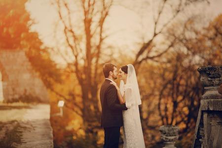 幸せなカップルが結婚式の写真撮影の黄金の秋 写真素材 - 45258242