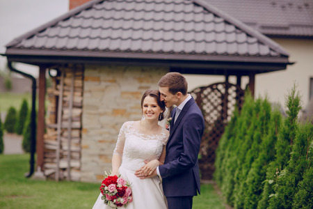 newlywed couple: beautiful happy couple on their wedding enjoying this moment