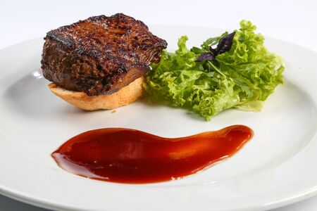meat and alternatives: chef cook cooked meals at an expensive restaurant Stock Photo