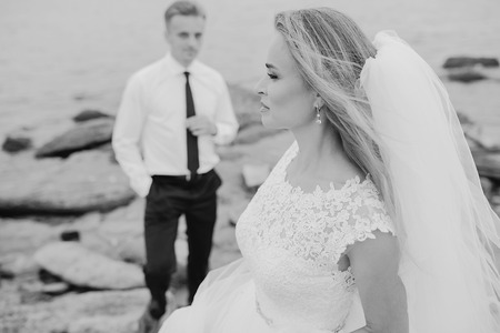 femme romantique: beautiful blonde couple celebrate their wedding day Banque d'images